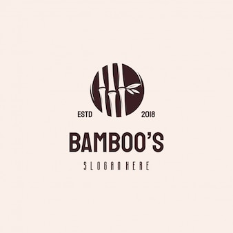 Modelo de vetor retrô vintage de logotipo de natureza árvore de bambu