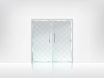 Modelo de vetor transparente de porta dupla de vidro