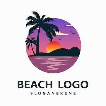 Modelo de vetores de design de logotipo de praia