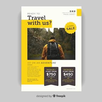 Modelo de viagem conosco panfleto com foto
