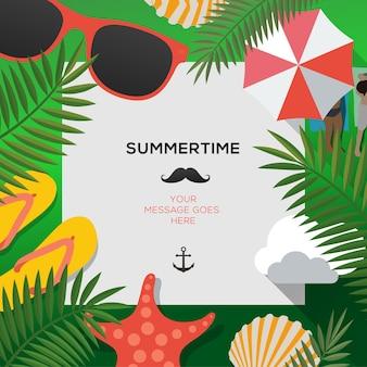 Modelo de viagem de verão com praia de verão