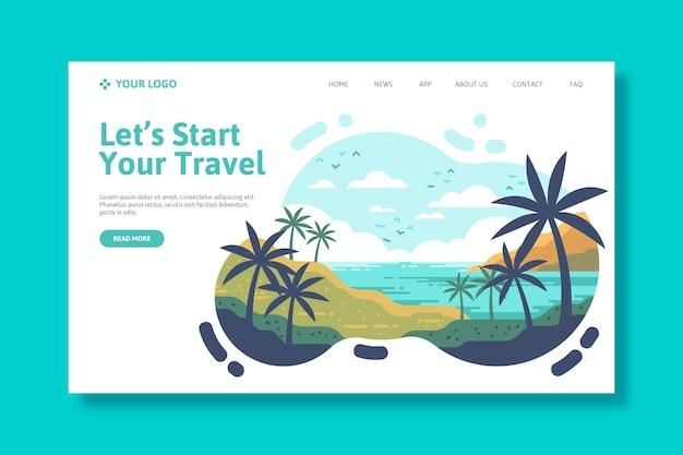 Modelo de viagem para página de destino