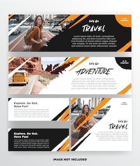 Modelo de viagens de banner com design grunge