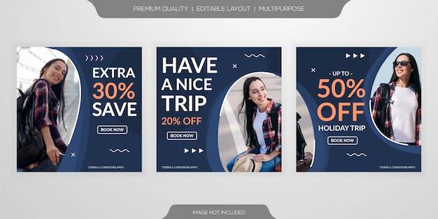 Modelo de viagens de postagem de mídia social