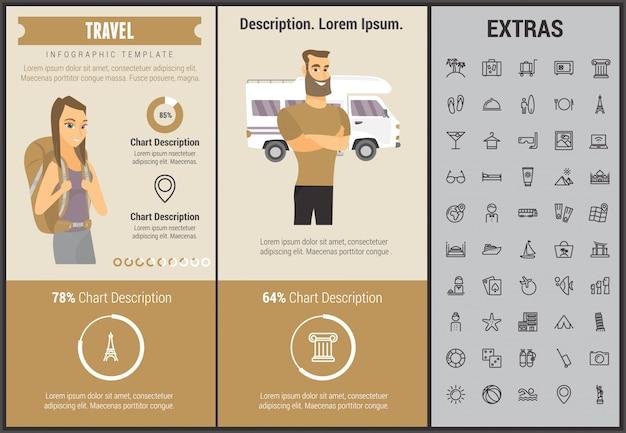 Modelo de viagens infográfico, elementos e ícones