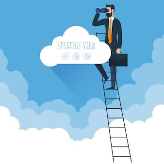 Modelo de visão de estratégia e escadas para nuvens homem subindo para nuvens no céu modelo para apresentação de banner design de capa brochura de infográficos