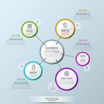 Modelo de visão geral de infográfico de empresa de vetor