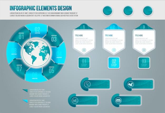 Modelo de visualização de dados de elementos infográfico