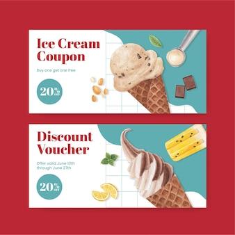 Modelo de voucher com conceito de sabor de sorvete, estilo aquarela