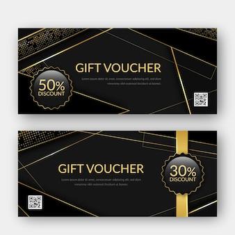 Modelo de voucher de presente dourado com código qr