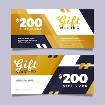 Modelo de voucher de presente dourado com código