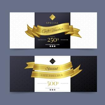 Modelo de voucher de presente especial dourado