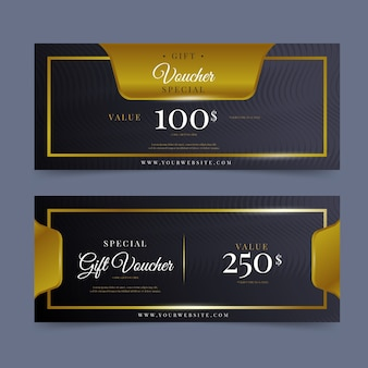 Modelo de voucher de presente estilo dourado