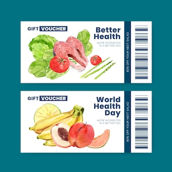 Modelo de voucher para o dia mundial da saúde em estilo aquarela