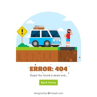 Modelo de web 404 erro com estrada e van em estilo simples