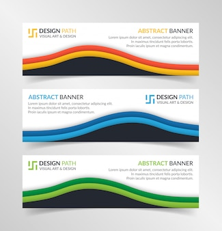 Modelo de web banner moderno design abstrato de vetor