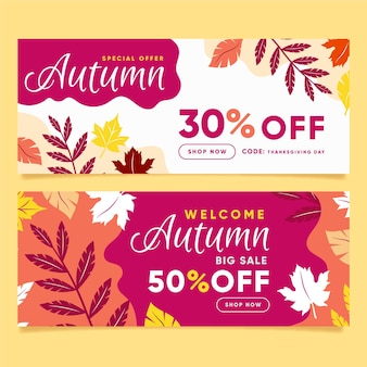 Modelo de web banners de outono de venda design plano