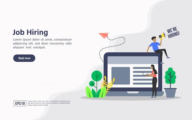 Modelo de web da página de destino da contratação de emprego