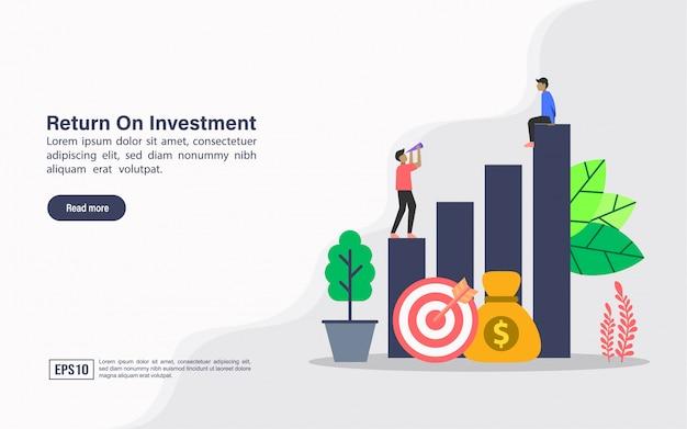 Modelo de web da página de destino de retorno do investimento