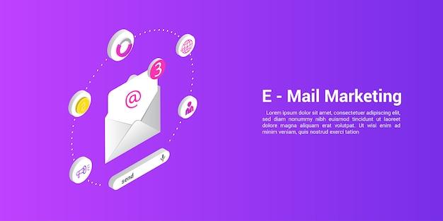 Modelo de web da página de destino para agências de email ou de marketing