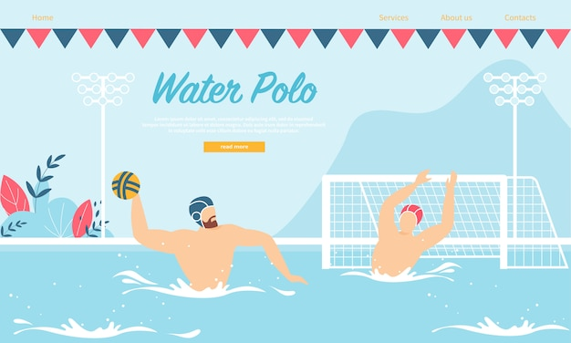 Modelo de web da página de destino para competição ou treinamento em pólo aquático