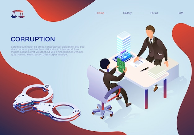 Modelo de web da página de destino para corrupção, subornando funcionários.