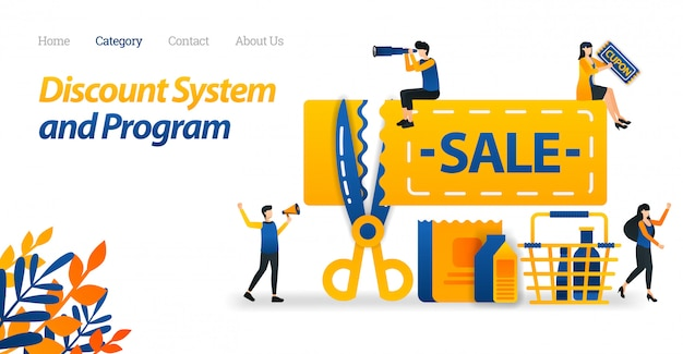 Modelo de web da página de destino para cupons para sistemas de desconto e redução de preço para determinados produtos. tesoura que cortou os preços.