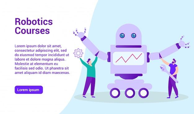 Modelo de web da página de destino para o ensino à distância. cursos de robótica. ensino à distância. lição online. e-learning