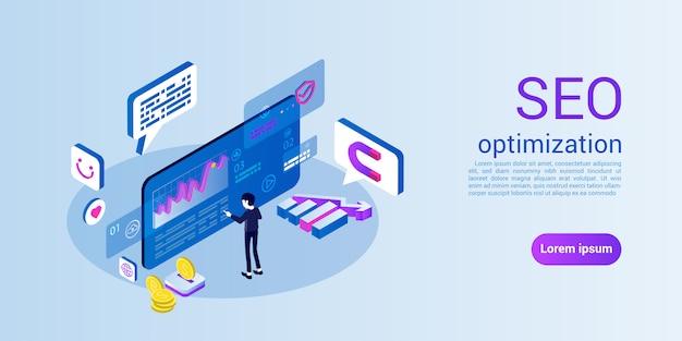 Modelo de web da página de destino para seo ou otimização de mecanismos de pesquisa