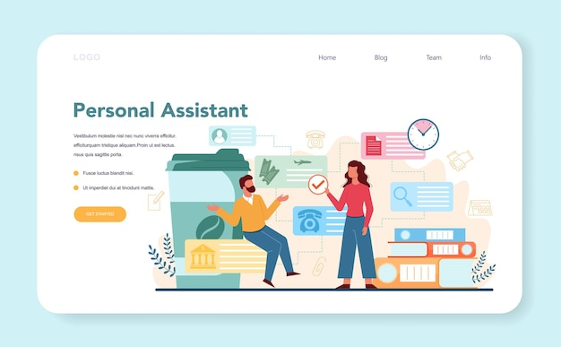 Modelo de web de assistente pessoal de empresário ou página inicial. ajuda profissional e suporte para o gerente. trabalhador que atende chamadas e auxilia com documentos.