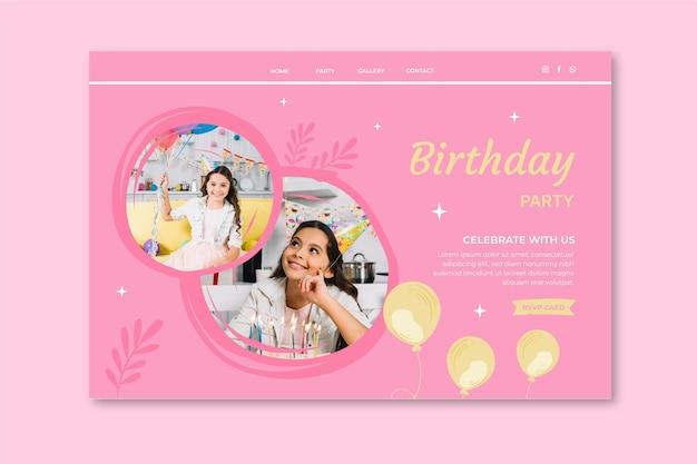 Modelo de web de celebração de aniversário