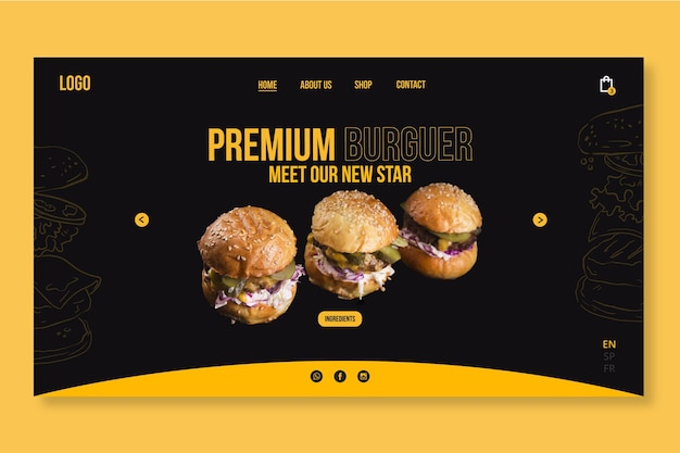 Modelo de web de comida americana com foto de hambúrguer