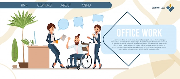 Modelo de web de curso de negócios para pessoas com deficiência