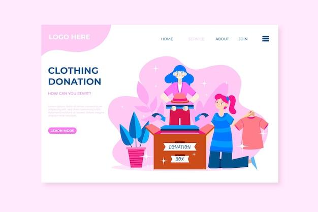 Modelo de web de doação de roupas de design plano