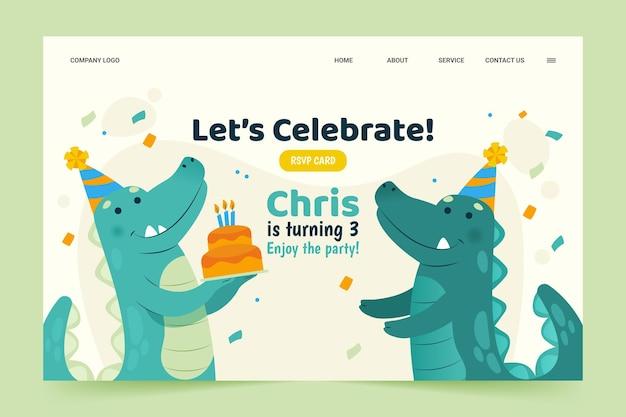 Modelo de web de feliz aniversário com dinossauro