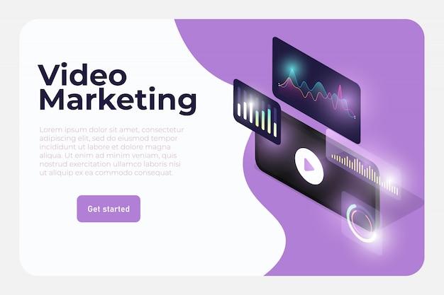 Modelo de web de ferramentas de marketing de vídeo Vetor Premium