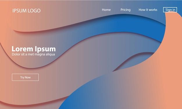 Modelo de web de página de aterragem geométrica.