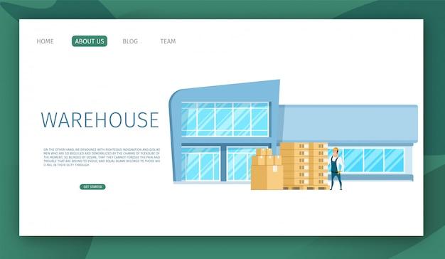 Modelo de web de página de aterrissagem com design de edifício de armazém de trabalho de vidro moderno