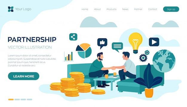 Modelo de web de página de aterrissagem com o conceito de parceria. financiamento de projetos criativos