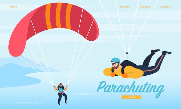 Modelo de web de página de aterrissagem com paraquedismo, atividade de esportes de paraquedismo.