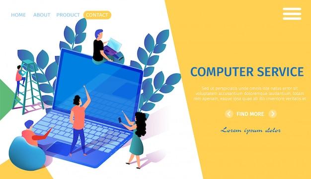 Modelo de web de página de aterrissagem com personagens em miniatura, movendo-se perto de um grande laptop. equipe.