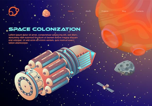 Modelo de web de página de aterrissagem com tema de colonização do espaço dos desenhos animados