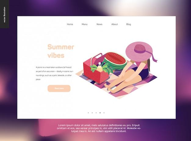 Modelo de web de página de aterrissagem com tema de piquenique de verão