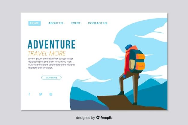Modelo de web de página de aterrissagem de aventura