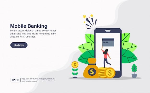 Modelo de web de página de aterrissagem de banco móvel