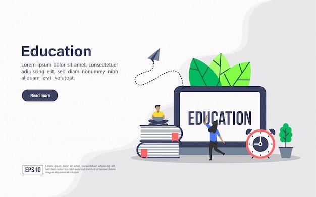 Modelo de web de página de aterrissagem de educação
