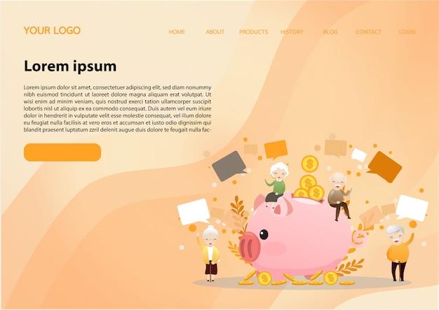 Modelo de web de página de aterrissagem para o conceito de aposentadoria.