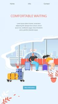 Modelo de web de página de destino com área de espera confortável do aeroporto