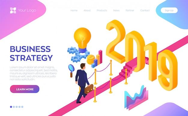 Modelo de web de página de destino com o conceito de estratégia de negócios
