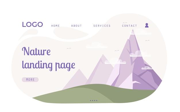 Modelo de web de página de destino com tema da natureza